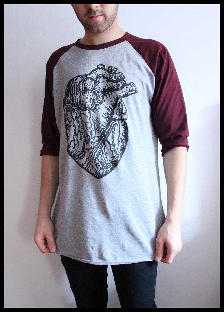 Burgundy heart raglan