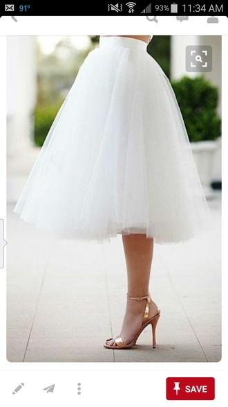 skirt tulle skirt white skirt midi skirt