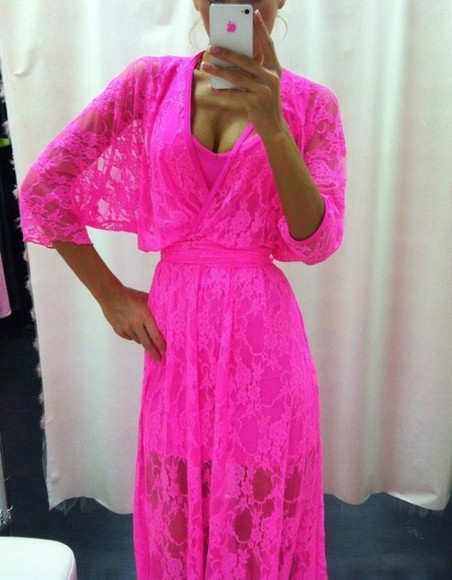dress pink dress lace pink lace dress hotpink summerdress neon beachwear