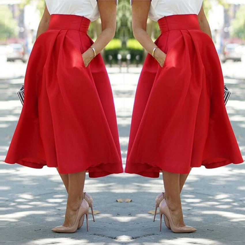 Vintage Hepburn Style High Waist Swing A Line Pleated Ball Gown ...