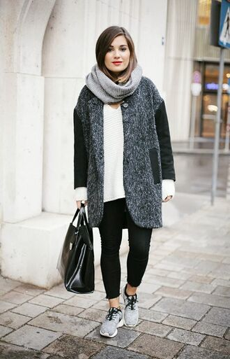 shoes grey scarf grey coat white shirt black leggings grey nike sneakers blogger