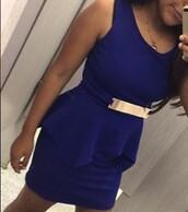 dress,peplum dress,blue dress,belted dress