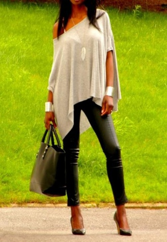 blouse oversized sweater oversized t-shirt boatneck off the shoulder pants bag