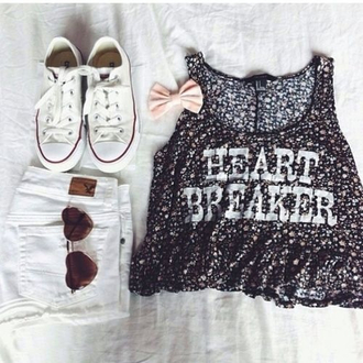 shorts summer top bow converse sunglasses shoes hair accessory