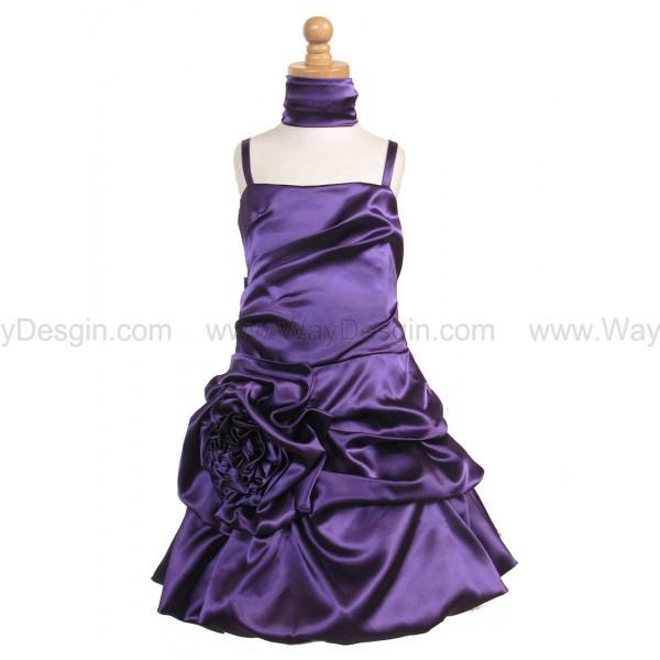 purple flower girl dress purple dress purple satin bubble dress gathered flower