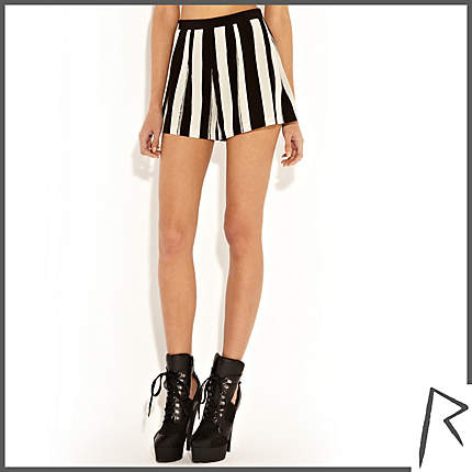 Black and white Rihanna painted stripe shorts - shorts - rihanna for river island - women ($87.00) - Svpply