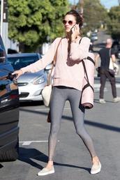 pants,alessandra ambrosio,model off-duty,streetstyle,sweater,grey