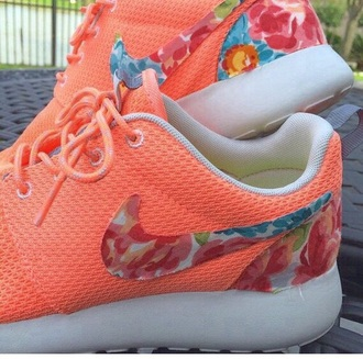 shoes nike rushe run floral shoes orange shoes