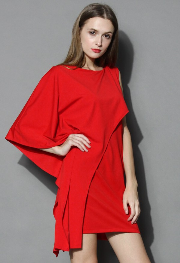chicwish beatuty flow dress asymmetrical dress red sleeveless dress for prom and evening party