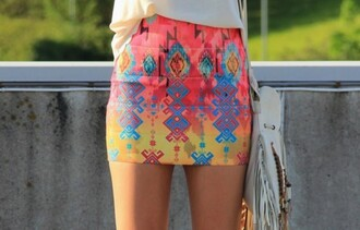 skirt neon aztec tribal pattern fitted shorts mini skirt printed skirt tribal skirt