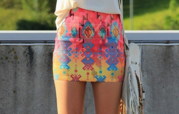 skirt neon aztec tribal pattern fitted shorts