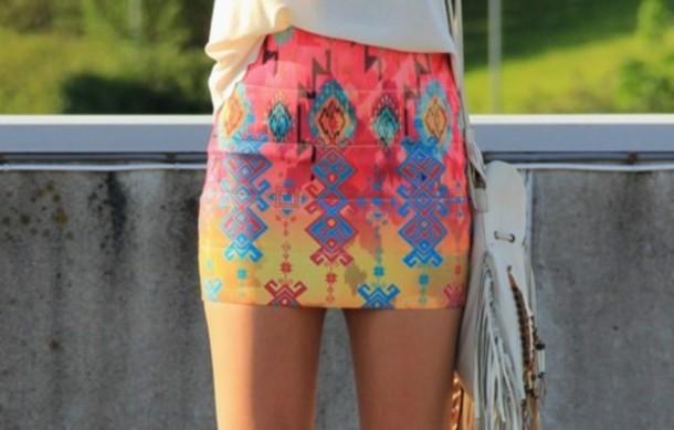 skirt neon aztec tribal pattern tight shorts mini skirt printed skirt tribal skirt
