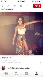 top,white crop tops,crop tops,jhene aiko crop top,jhene aiko skirt,maxi skirt,flower skirt,boho,celebrity style,jhene aiko,jheneaiko,outfit,summer outfits,skirt