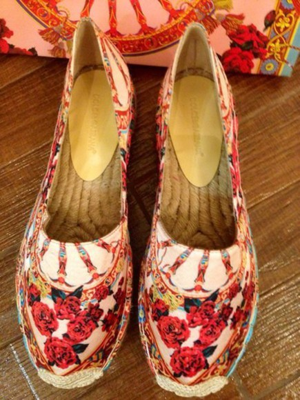 shoes floral d&g dolce and gabbana espadrilles
