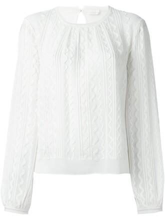 blouse women jacquard white silk wool top