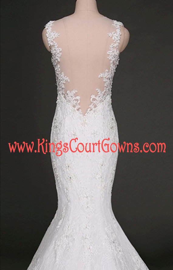 Replica lace mermaid backless wedding dress gown chapel train