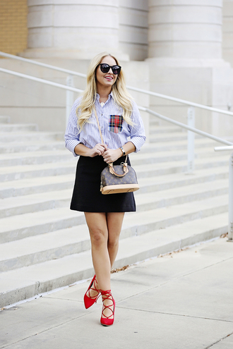 cortinsession blogger shoes top skirt jewels sunglasses bag louis vuitton bag louis vuitton striped shirt red heels high heel pumps mini skirt
