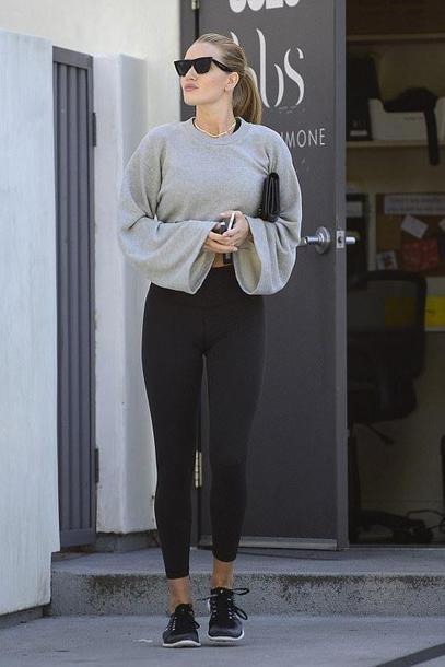 sweater sweatshirt top sportswear sneakers rosie huntington-whiteley model off-duty