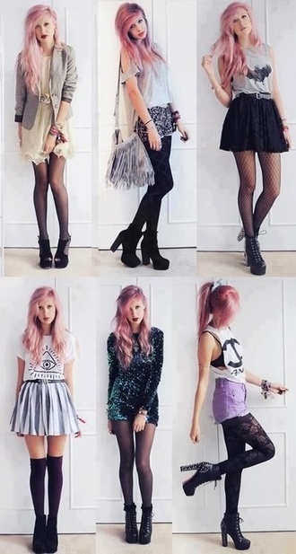 tank top tights lace lace tights chanel chanel t-shirt shorts purple shorts dress shoes skirt underwear bag hipster pants girly outfits tumblr blouse pastel little black boots studs spikes style black heels high heels high waisted shorts purple pastel goth