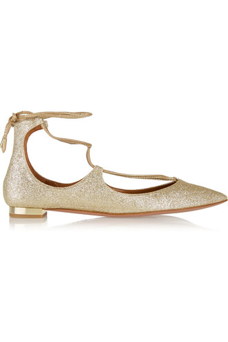 flats leather gold shoes