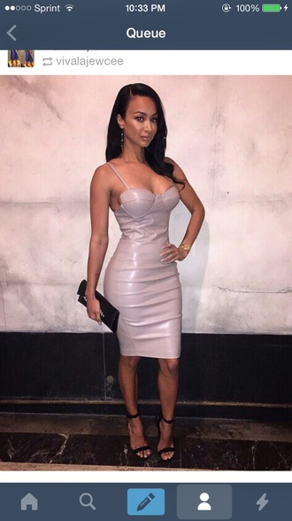 dress pink leather leather dress faux leather draya michele pink dress sexyinleather