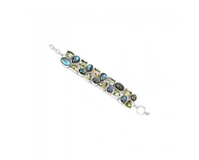Handmade 925 sterling silver Labradorite And Green Amethyst Gemstone Cluster Bracelet