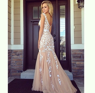 dress nude white prom dress lace dress long prom dress