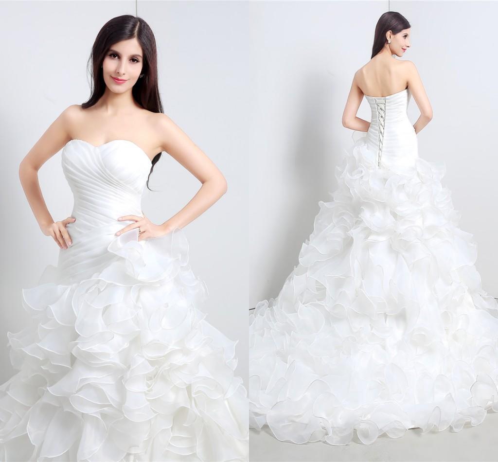Discount ruffles mermaid trumpet wedding dresses organza court train online with $156.43/piece