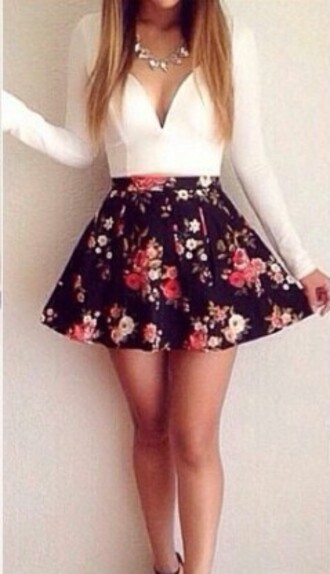 dress floral skirt white top