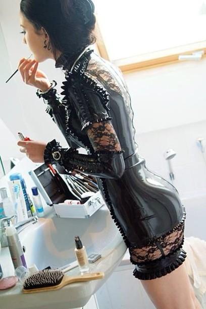 dress latex lace latex dress