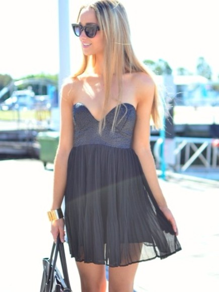 dress strapless black grey