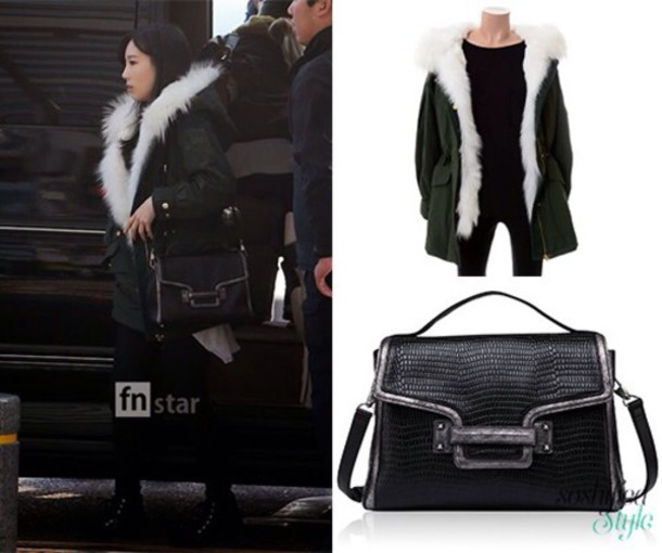 ae303a85d5b6 jacket green black designer rain coat juicy couture taeyeon kpop fur coat  white t-shirt