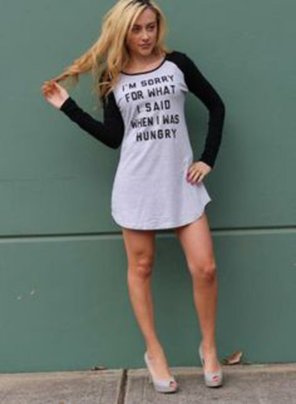 funny quote on it long sleeves long sleeve dress no pants