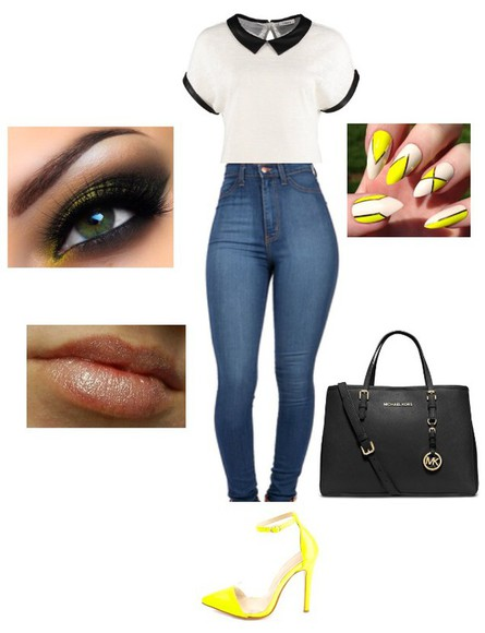 shoes yellow shoes top bag jeans lip gloss yellow nailpolish micheal kors bag blouse high waisted jeans nails eyeshadow lipstick eyebrows
