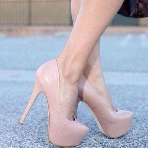 Light Pink Patent Platform Pump Heels @ Amiclubwear Heel Shoes ...