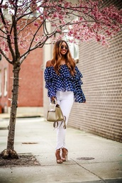 blouse,top,blue top,white jeans,off the shoulder,off the shoulder top,polka dots,jeans,sandals,spring outfits