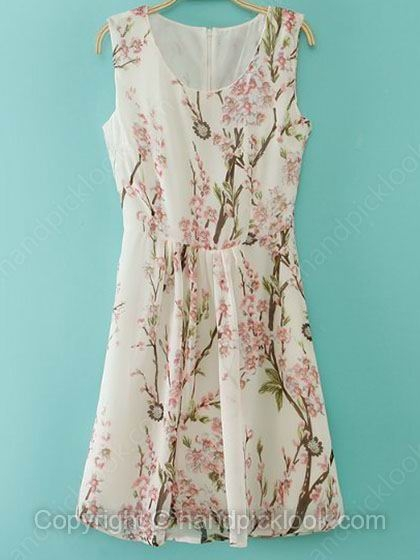 Beige Sleeveless Plum Flowers Print Chiffon Dress - HandpickLook.com