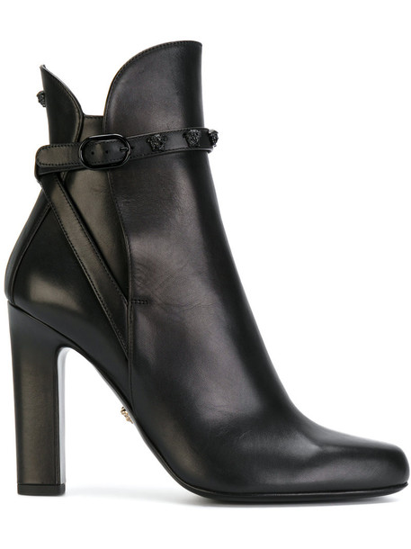 VERSACE women ankle boots leather black shoes