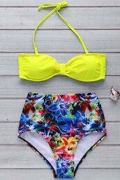 swimwear,bikini,neon,yellow,fashion,beach,summer,patter,high waisted,gamiss
