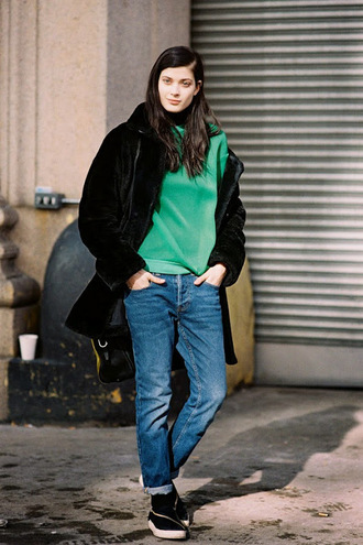 blogger vans coat jeans vanessa jackman sweater green