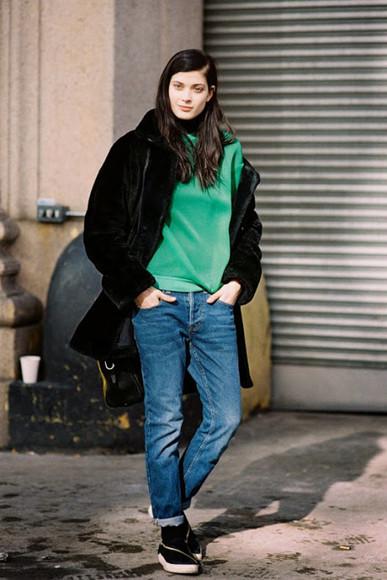 blogger vans jeans vanessa jackman sweater green coat