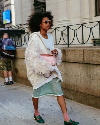 jacket skirt flats ny fashion week 2016 fashion week 2016 streetstyle sunglasses pilgrim shoes high heel loafers curly hair natural hair off-white oversized jacket transparent skirt