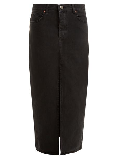 RAEY Slit-front denim maxi pencil skirt in black