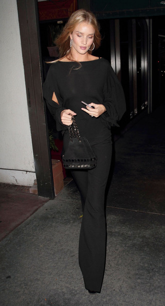 pants blouse rosie huntington-whiteley model off-duty all black everything top