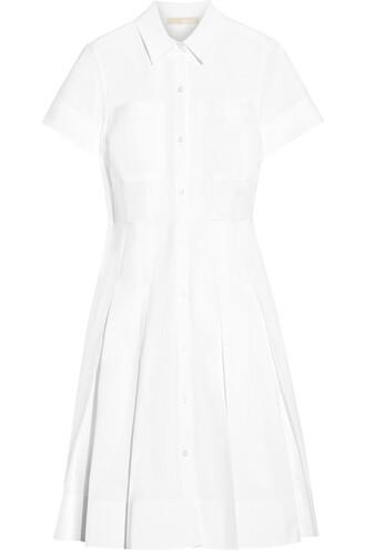 dress shirt dress pleated cotton white
