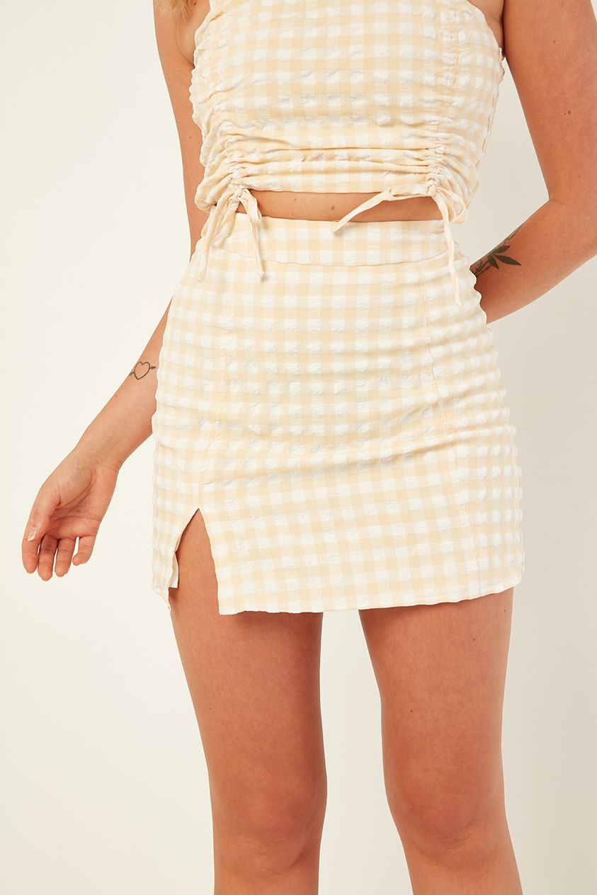 Perfect Stranger Check Mate Mini Skirt Yellow Print