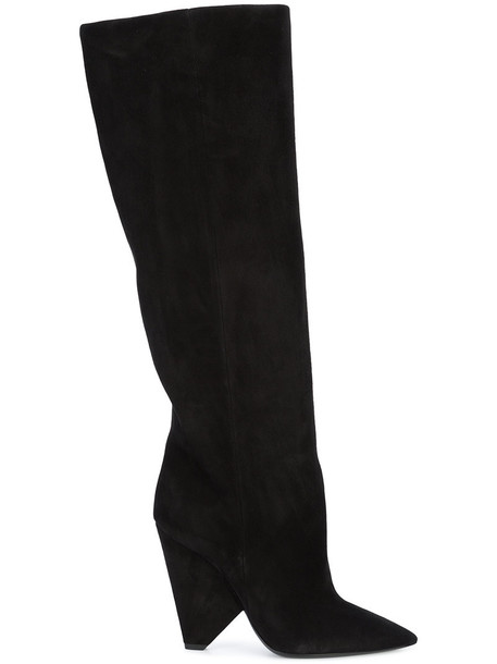 Saint Laurent women boots leather suede black shoes