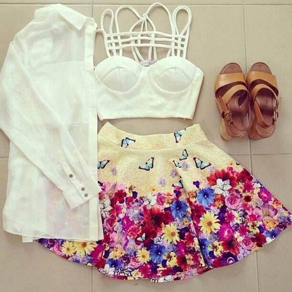 blouse top cute skirt butterflies skirt tank top summer outfits floral flowery skirt colorful floral print