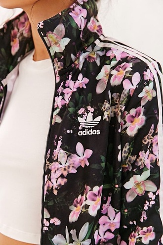 jacket floral adidas swag urban coat
