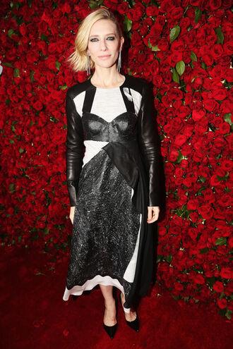 dress asymmetrical cate blanchett midi dress pumps black and white tony awards long sleeve dress